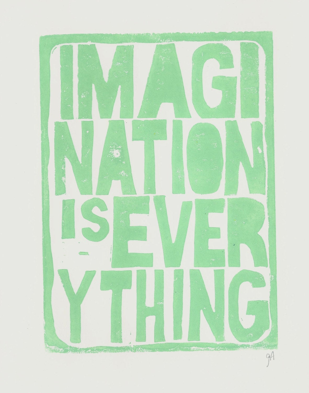 PRINT - Imagination is everything LINOCUT sea foam green - poster 8x10