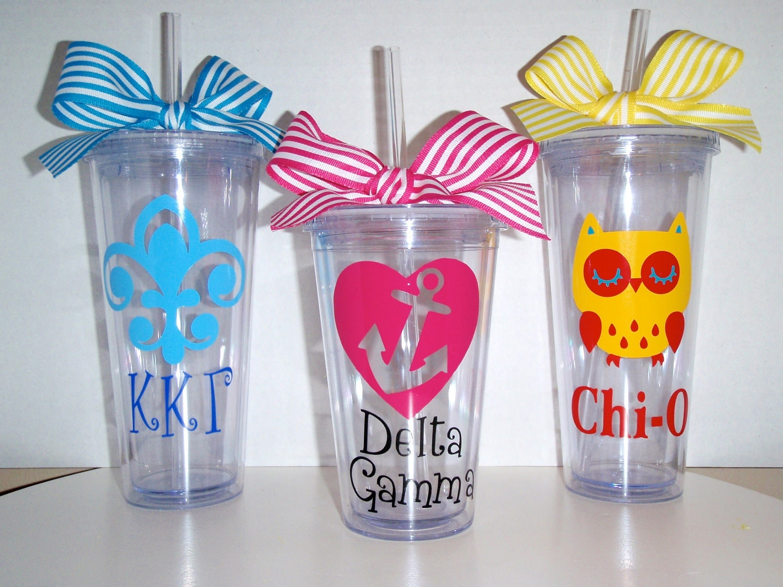 20 oz. Greek Sorority Tumbler Cups Gift- Kappa Kappa Gamma, Delta Gamma, Chi Omega