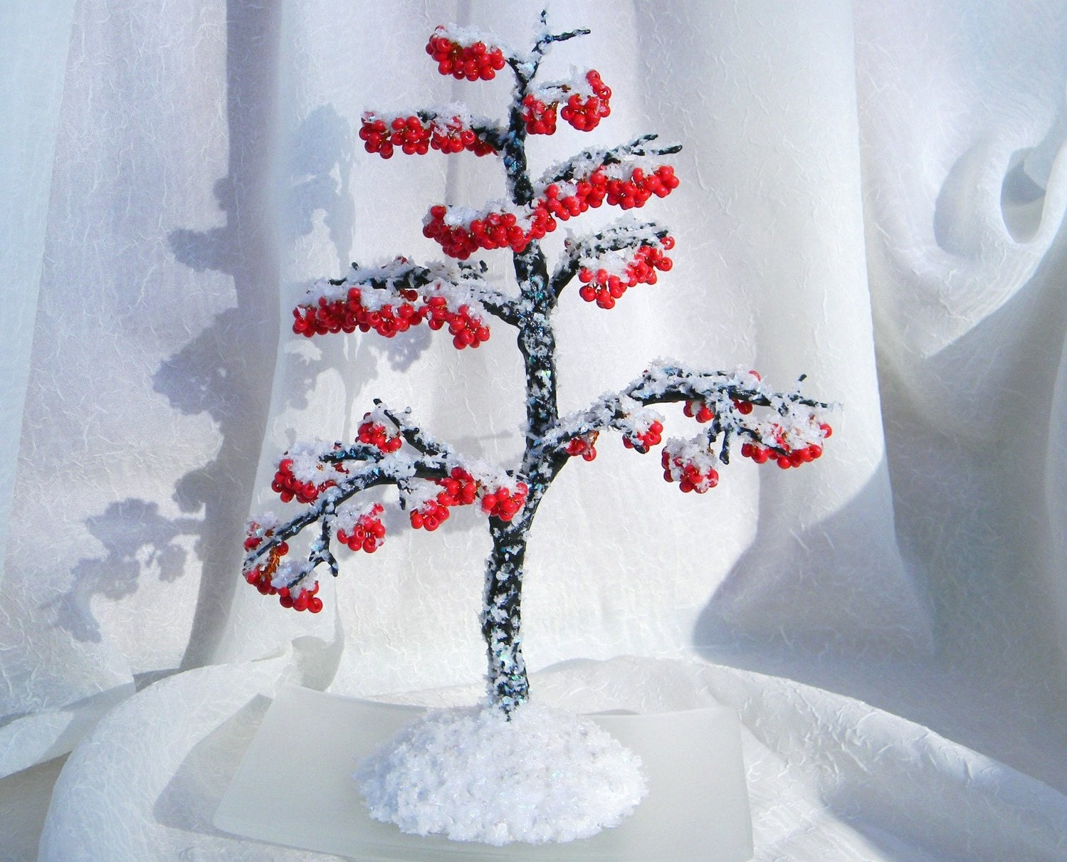 Snowball Tree Wire Beaded Sculpture Home Decore