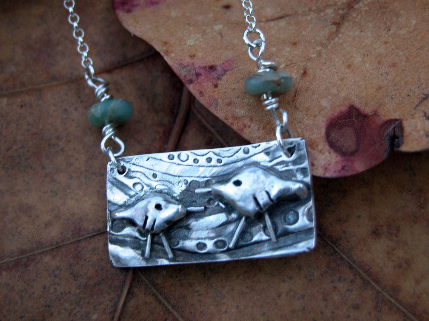 mother and baby sandpiper necklace with aqua jasper