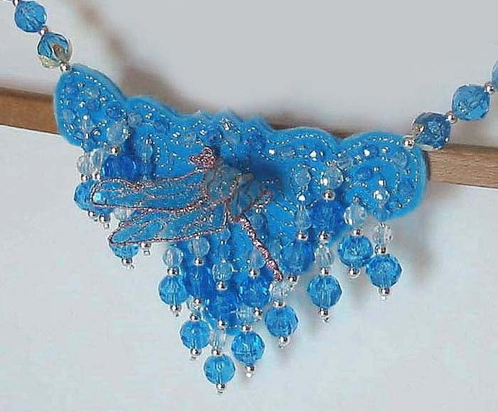 OOAK Sky Blue Necklace with Hand-Guided Machine Embroidered Holographic Dragonfly RAIN DROPS