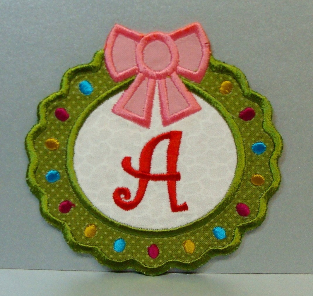 monogram wreath iron on patch 4x4 clothing by sewproembroidery