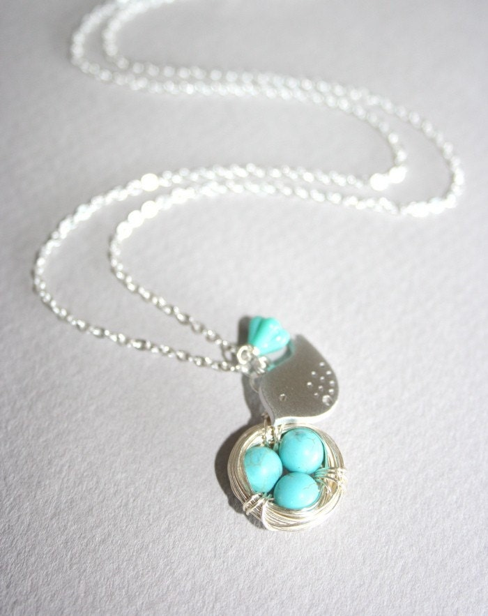 Turquoise Eggs Spotted Bird and  Bird Nest Necklace by smilesophie