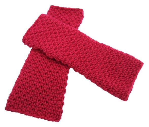 Hot Pink Textured Wool Knit Armwarmers