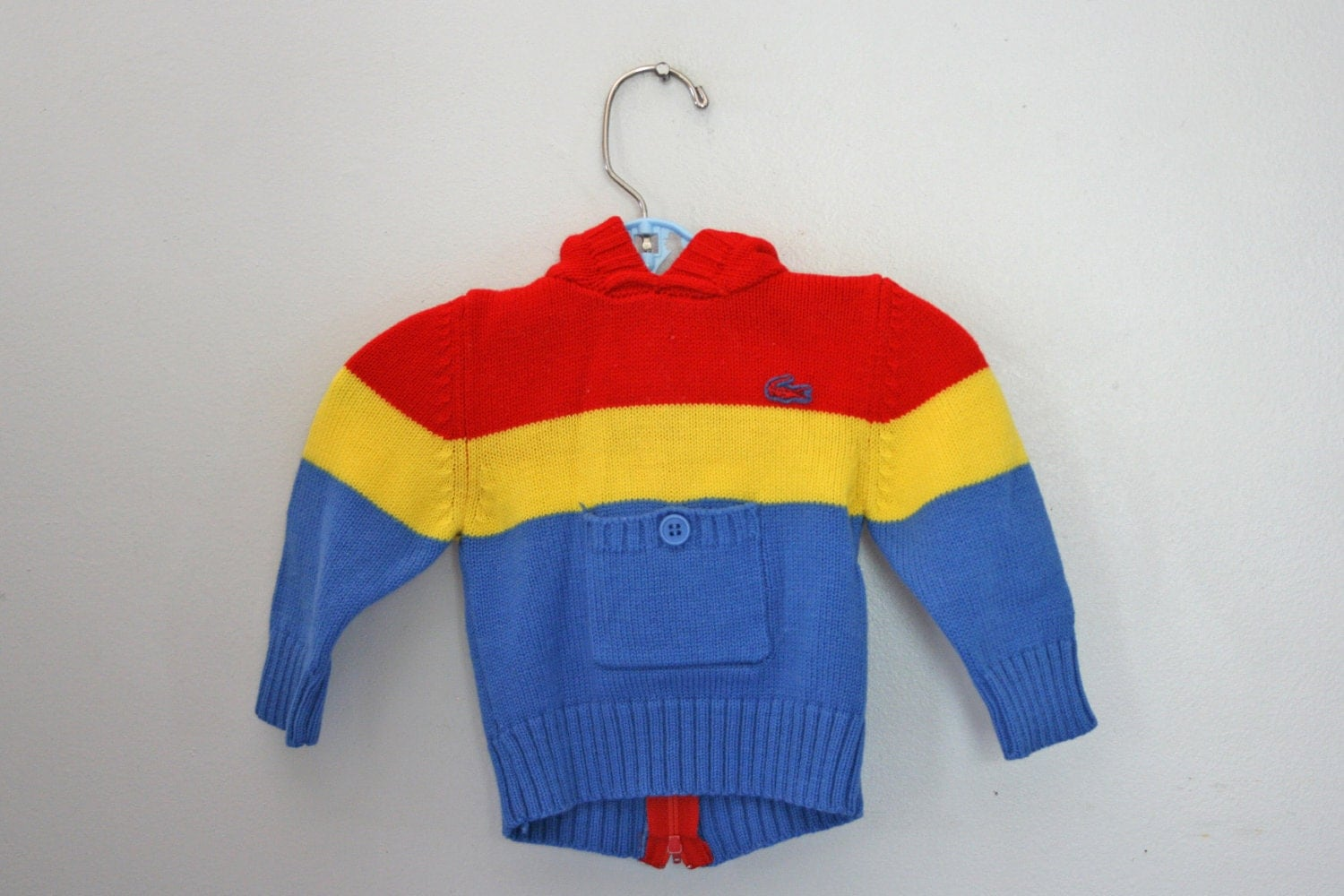vintage 80s Izod Lacoste Baby Boy Primary Colors Striped Knit Sweater Hoodie with Red Crocodile - vintagekidlets