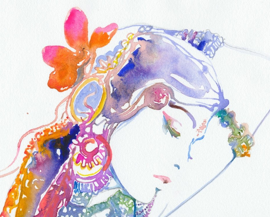 Watercolour Fashion Illustration - Bollywood