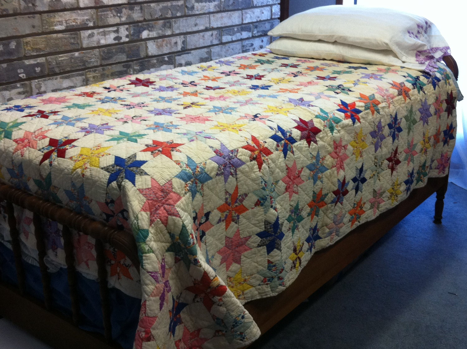 Vintage Eight Point Star Quilt By Goldendaffodils On Etsy
