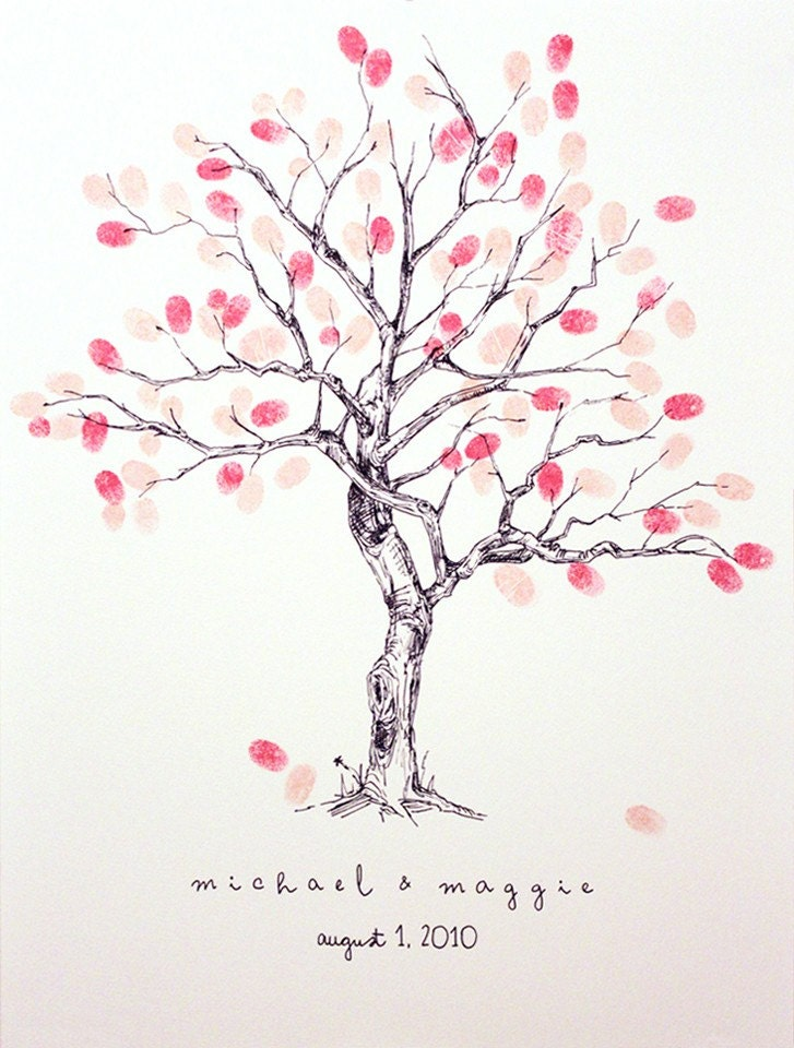 RESERVED (for aznanay, and bohomum) Guest book fingerprint tree kit, hand drawn, small (drawing only)