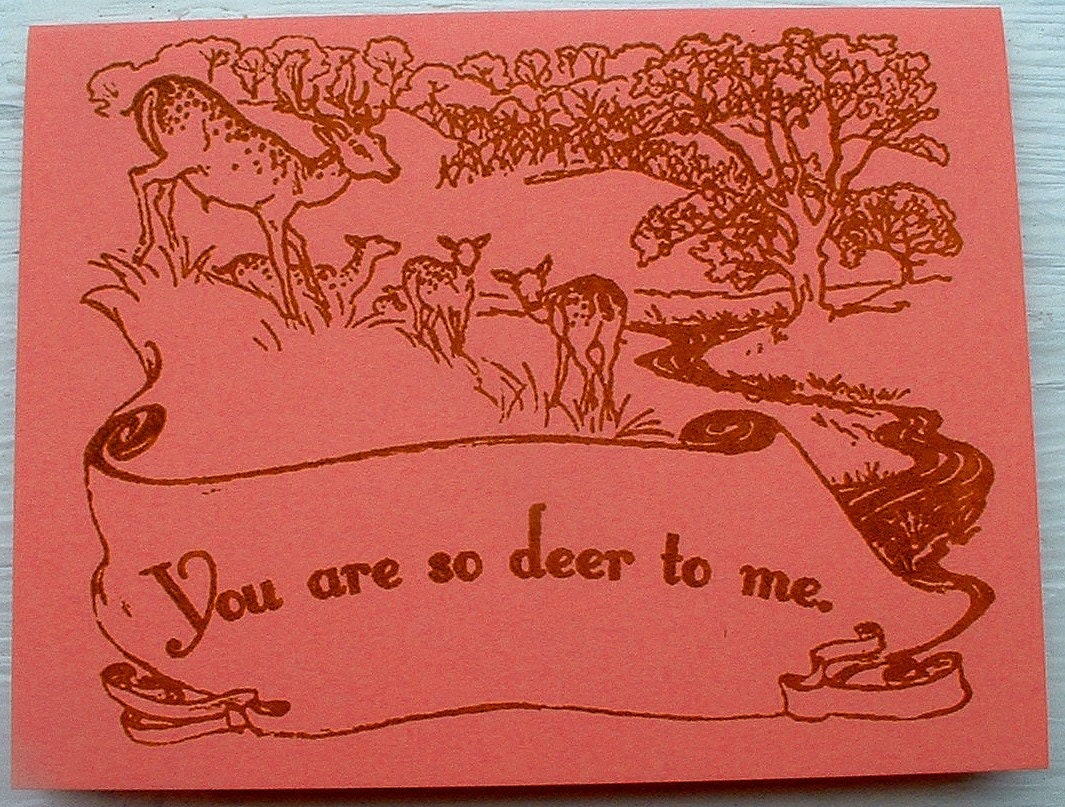 You are so deer to me. Card in Mango
