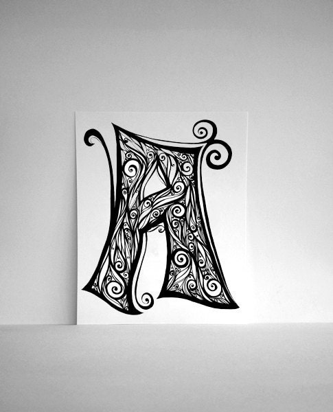 Hand Drawn Letter A in Black and White Swirls, Personalized Alphabet Art - 8x10 Print