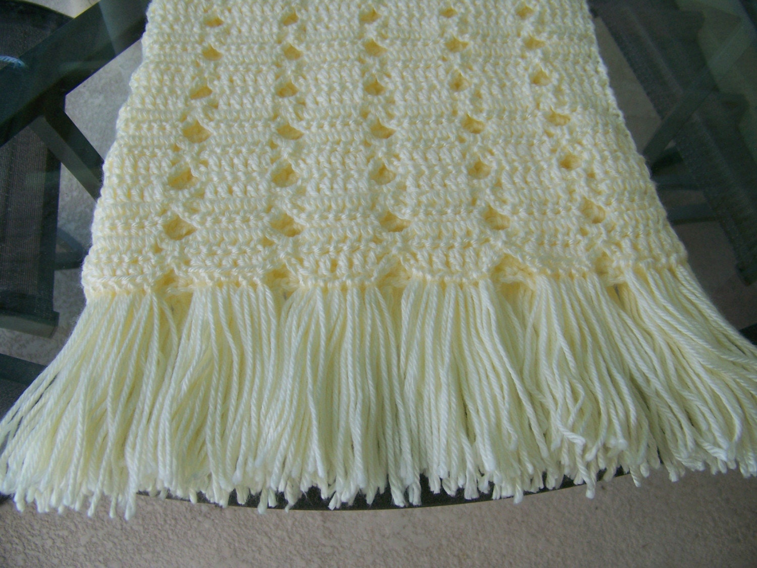 Free Crochet Patterns Using Caron Simply Soft Yarn : Baby Afghan in Soft Yellow Caron Yarn 27x35 Hand by ...