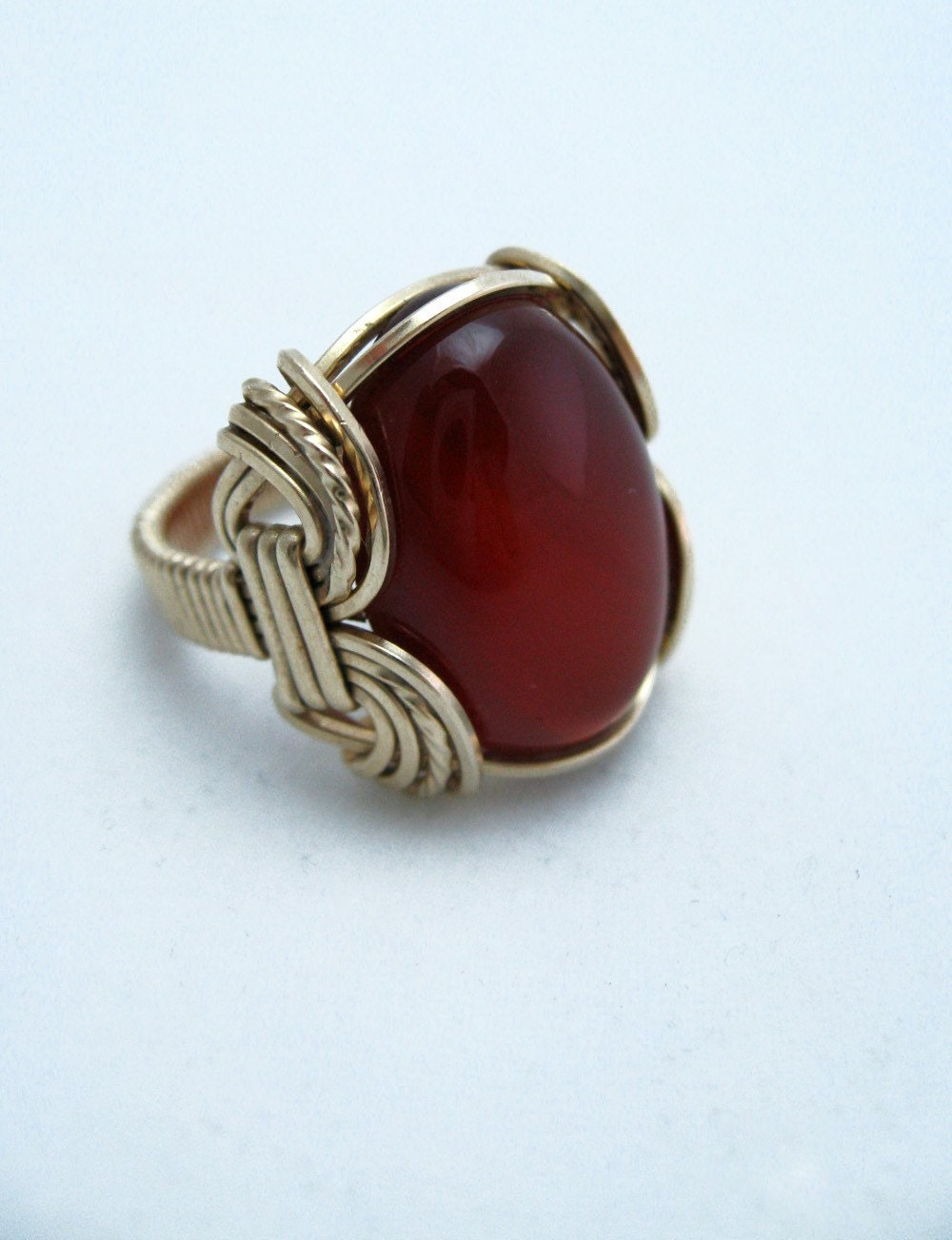 Stone Of Courage, Carnelian Ring, Gold,  Elegant Wire Work, RiverGum Jewellery