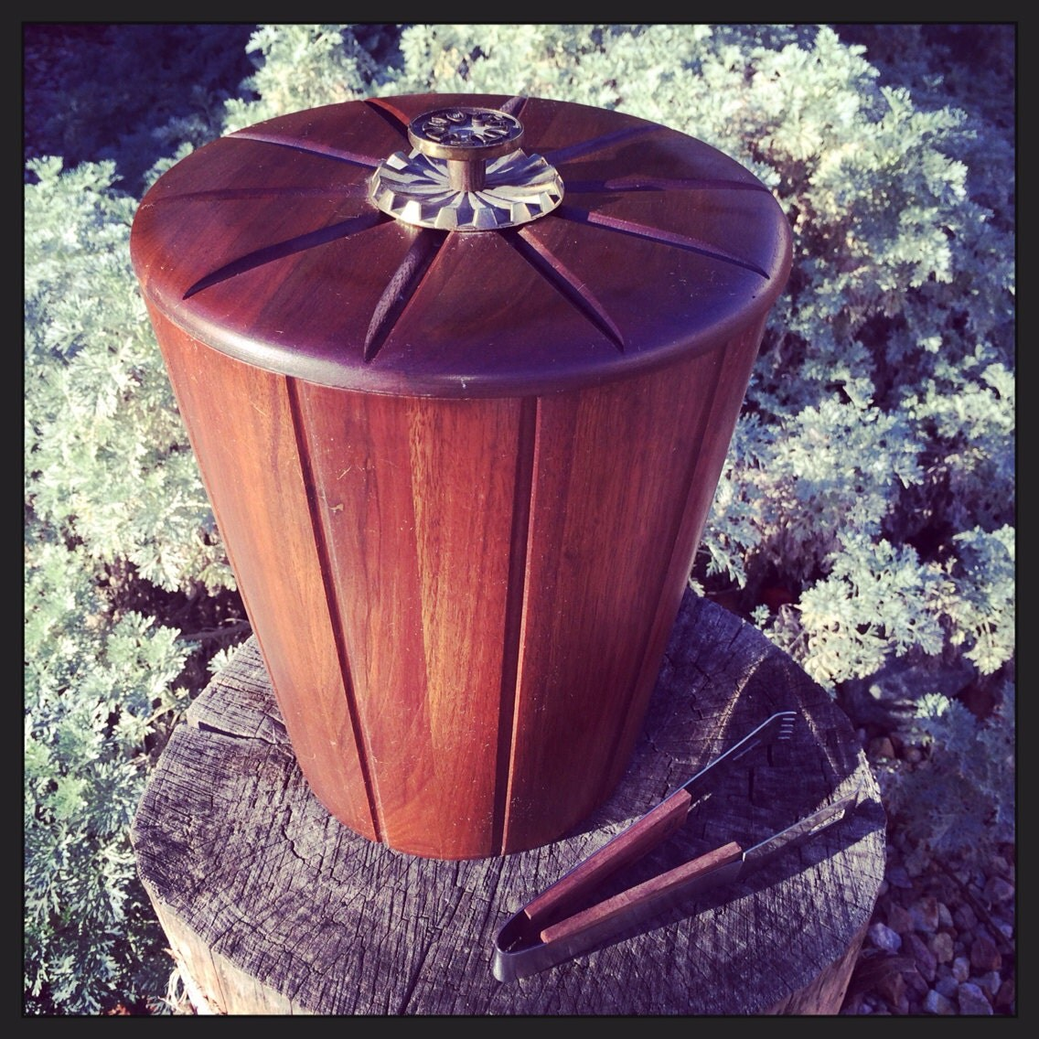 Vintage Ultimate Bachelors Ice Bucket in Walnut Vermillion Wood  - DustandDaze