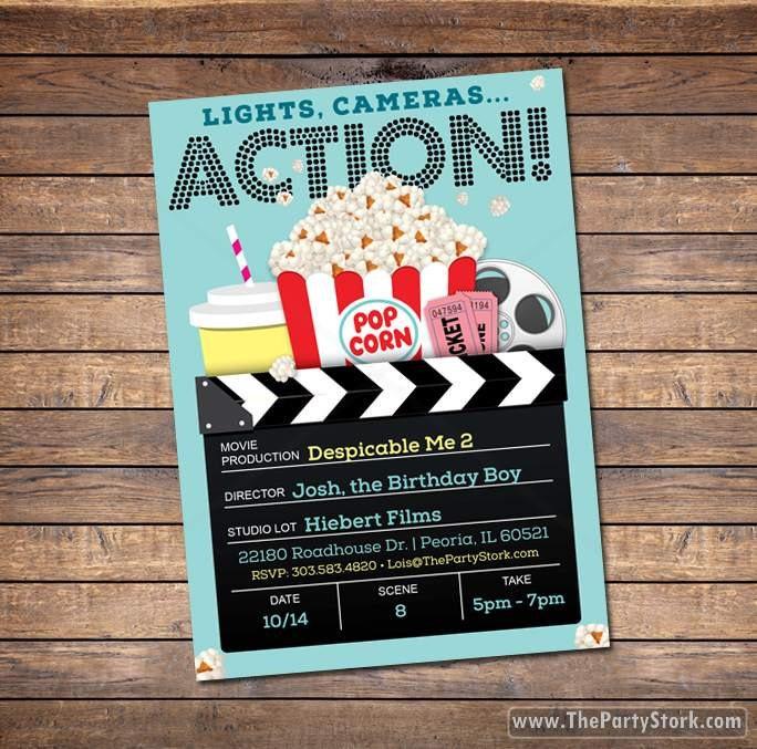Movie theater birthday perty invitations