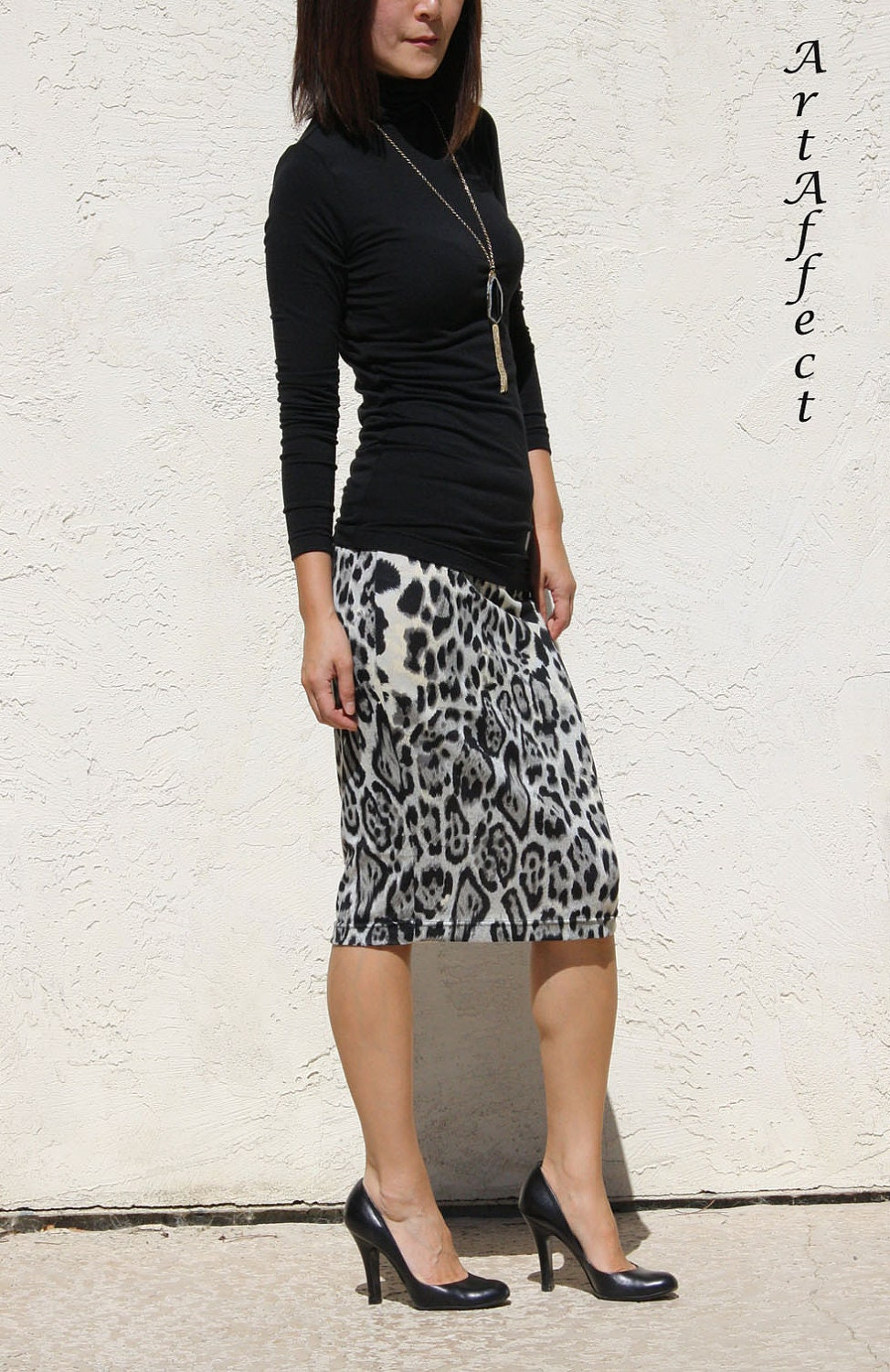 sweater knit everyday pencil skirt black and gray by artaffect