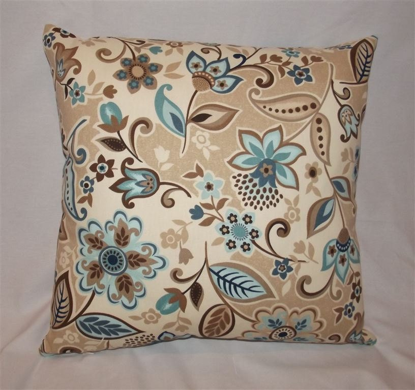 Items similar to Blue Tan and Brown Decorative Pillow Cover 18