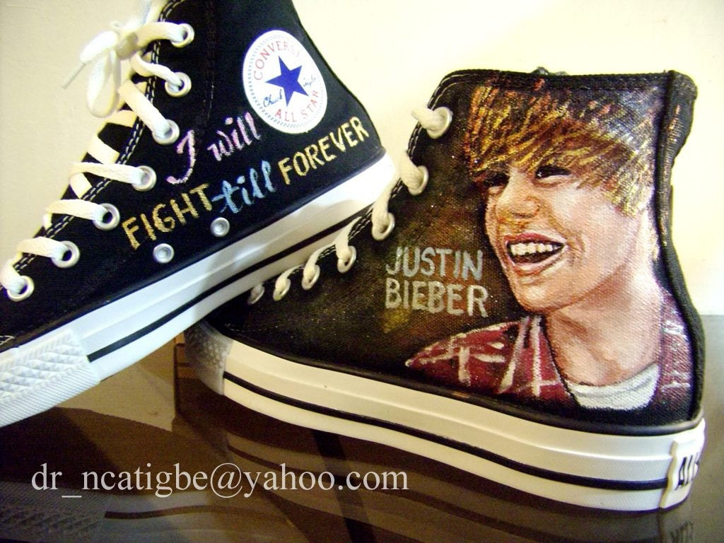 Justin Bieber- hand painted on Converse