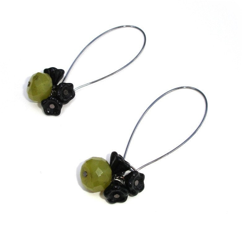 Olive Blossom Earrings - Olive Jade and Black Flowers on Gunmetal earwires