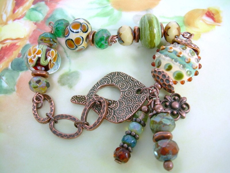 Garden Moss - Lampwork and Copper Bracelet