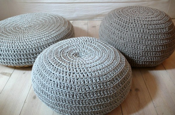 Floor Cushion Crochet - silver gray - lacasadecoto