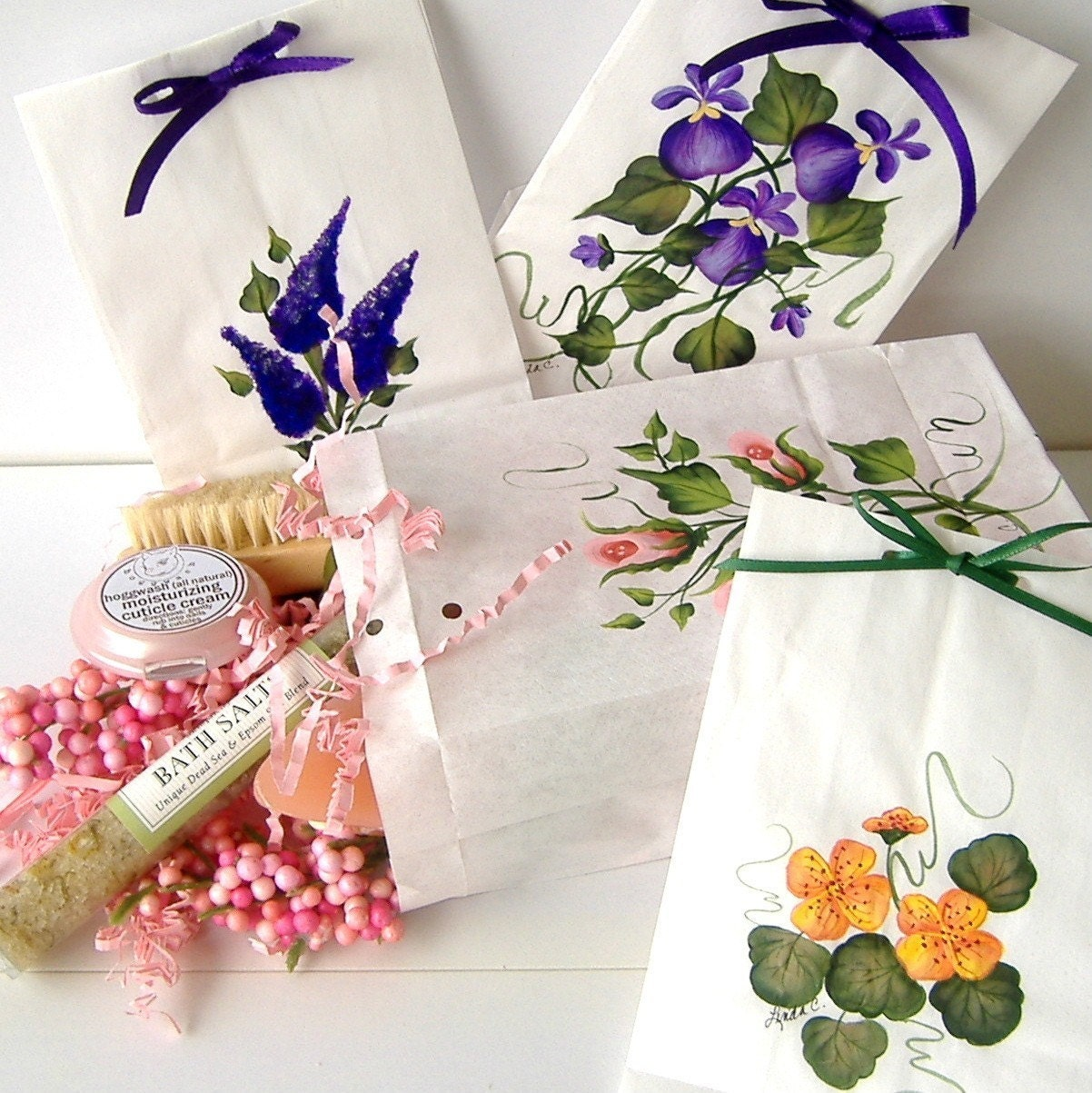 Goodie Bags, Gift Bags, Hostess Bags, Thank You Bags, Set of 4 Handpainted Original