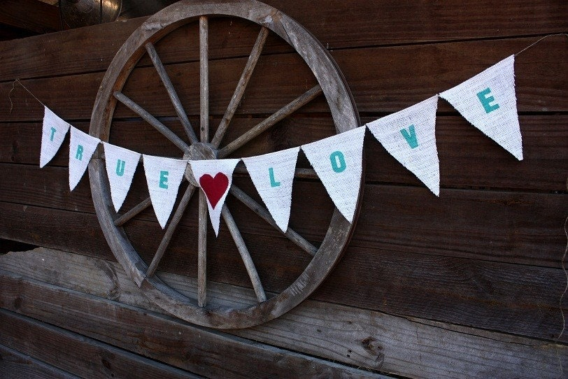 True Love burlap  banner,Aqua with red fabric heart
