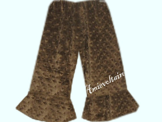 Girls Light Brown Minky Polka Dot Ruffle Pants sizes 12m 2t 3t 4t 5t 6 7 8 10 - Amievoltaire