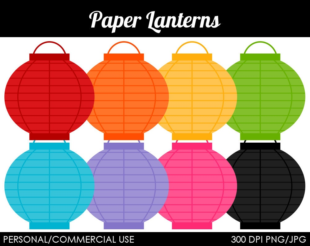 Paper Lanterns Clipart Digital Clip Art Graphics by ...