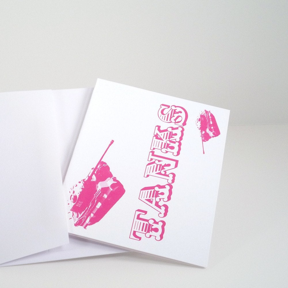 Pink Tanks set of 6 thank you cards and envelopes by theRasilisk from etsy.com