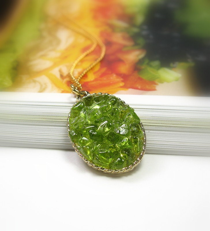 Hawaiian Diamond Peridot Pendant Necklace