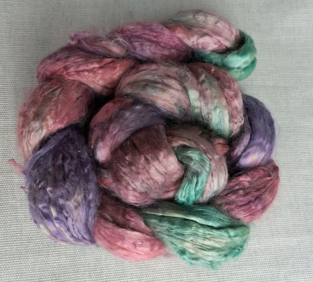 Sale - Tea Party  - Soysilk Roving - 3.4 oz