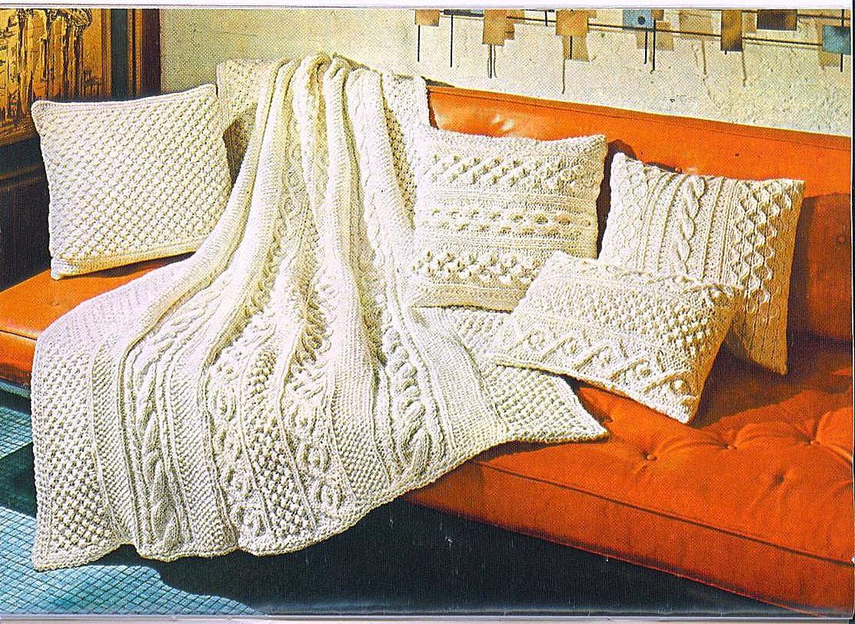 Aran Afghan Knitting Patterns : KNITTING PATTERN Aran Afghan & Pillows 017 by YarnOverPatterns