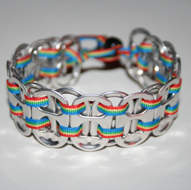 Rainbow Pop Can Tab Bracelet with Thin Ribbon