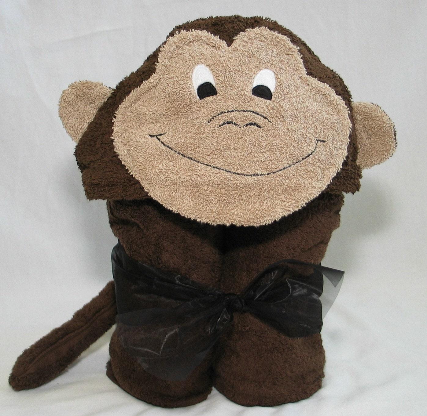 Monkey Hooded Bath Towel Dark Chocolate Brown For By