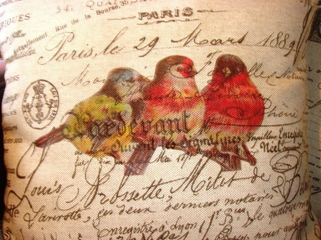 French Script Pillow Cover Bird Trio from Gathered Comforts