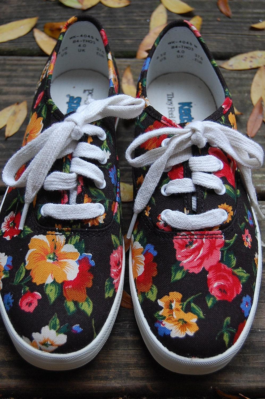 womens vintage 90s keds black floral by