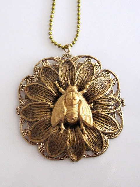 Bee with Flower Pendant