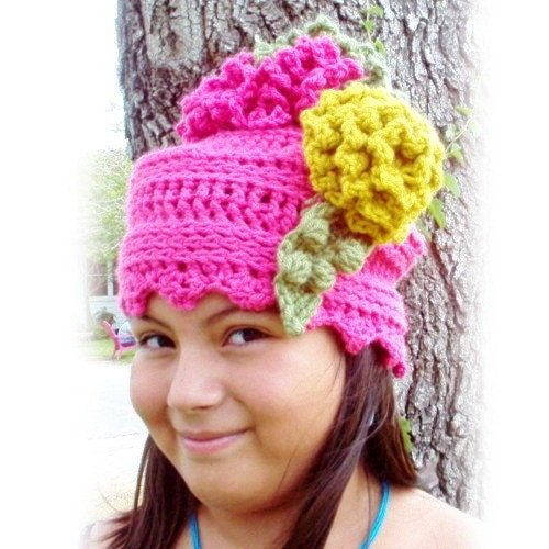 Pink Beanie Crochet by strawberrycouture on Etsy from etsy.com