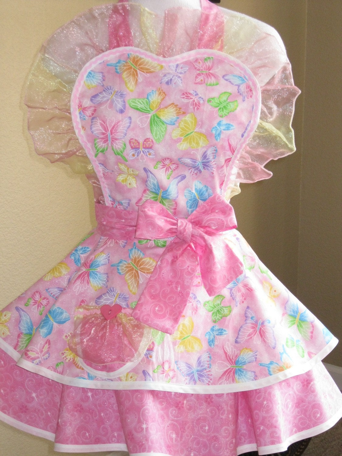 Flirty Butterfly Princess Apron with Sparkle