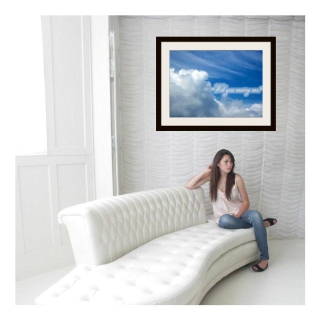 "Skywriting Personalized Photo Poster,  ""Your Words Of Love Written In The Sky"" "" 20 x 16,  Photo Poster Print"