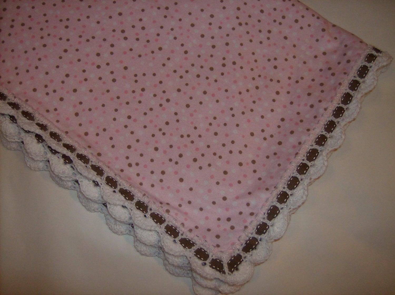Flannel Baby Blanket Crochet Edging Patterns : Pink Flannel Baby Blanket with Crochet Edging by sherrywilsew