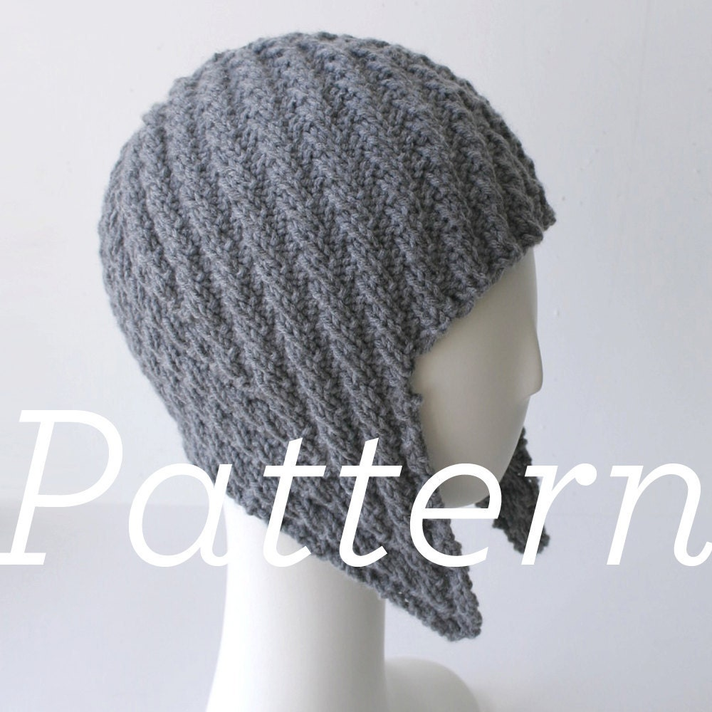 Knit Hat Pattern // Herringbone Rib Aviator by shopknitsandprints