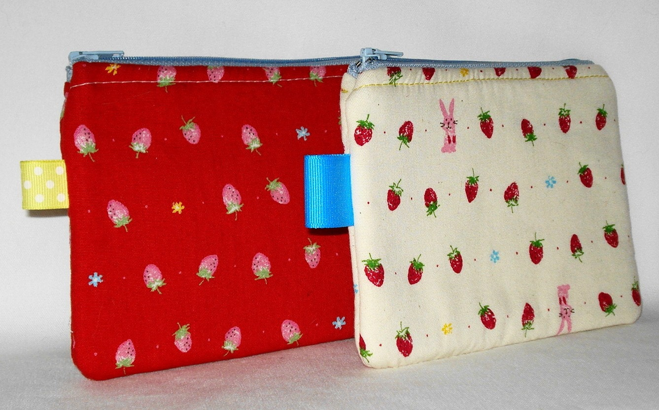 Bunny Hearts Strawberries 2 Pack Pouch Promo - White and Red by WolfBait on Etsy
