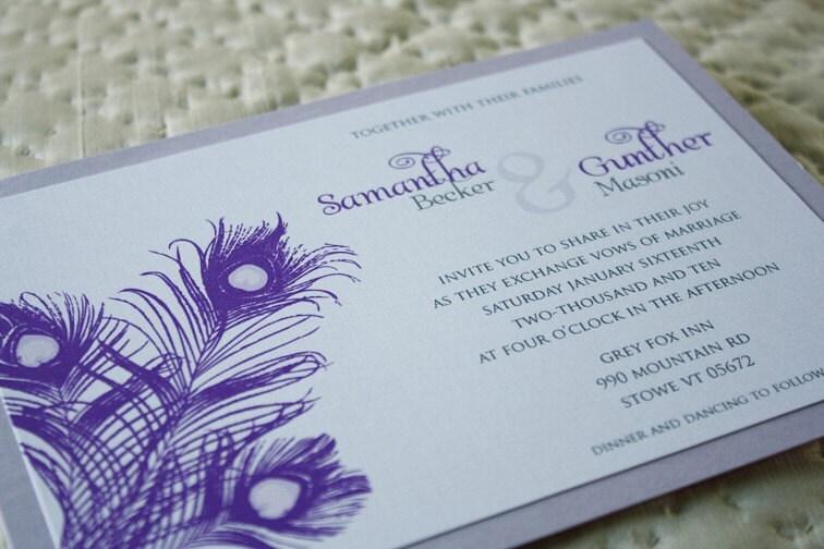 Purple and Lavender Peacock Wedding Invitation