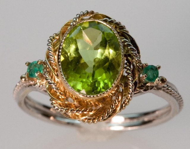 Peridot and Emerald Green Ring