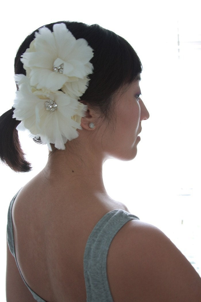 Sparkle Flourish, double feather flower - Bridal feather hair piece - Made to Order