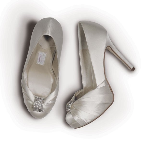 Ivory 4 .5 Inch Platform Satin Shoe...Ready To Embellish... Ready To Party