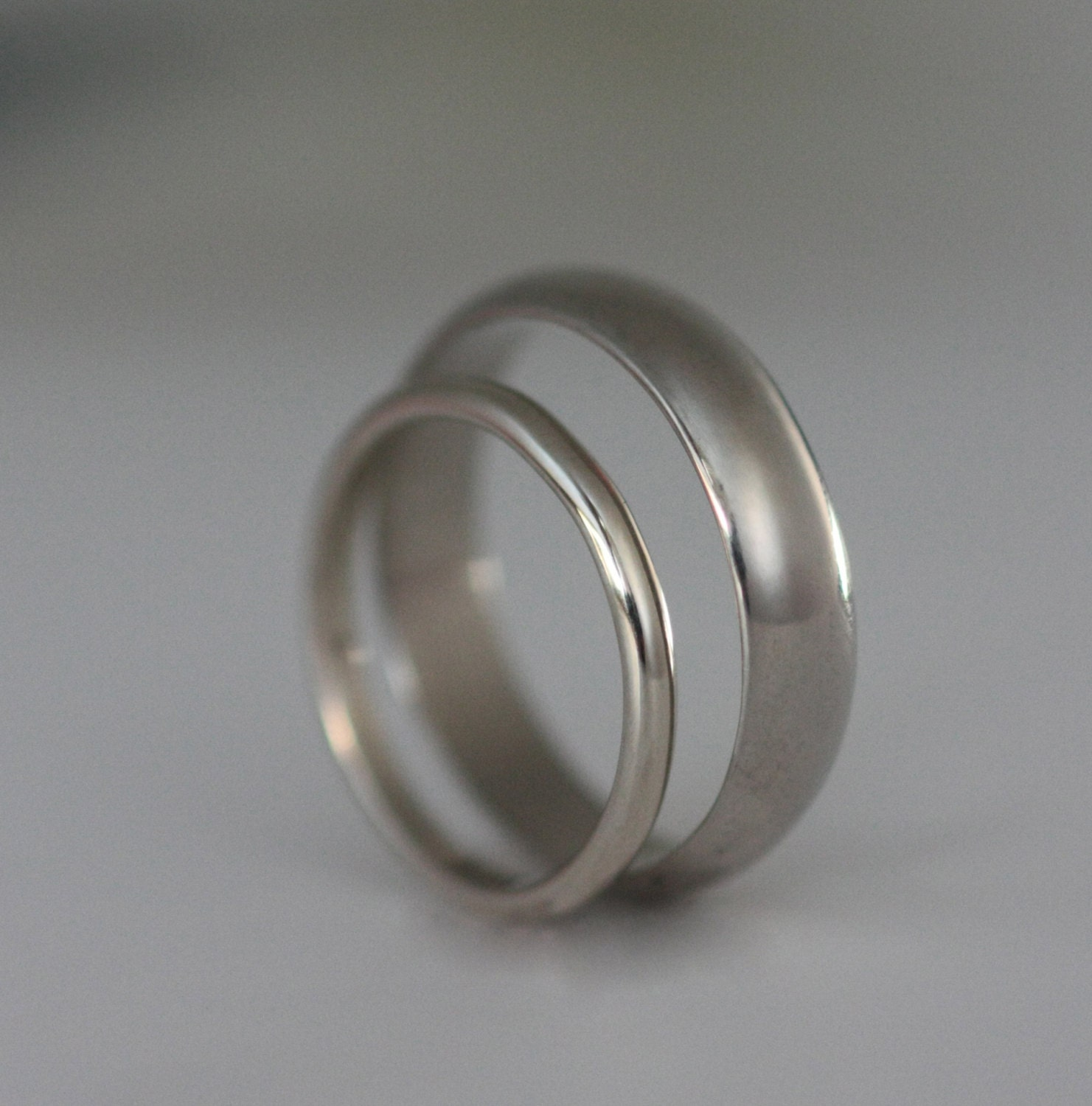 Set Recycled Palladium Wedding Bands Simple And By VKecojewelry