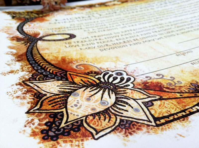 Items Similar To Henna Tattoo Indian Style Ketubah  Jewish Marrigage Contrac