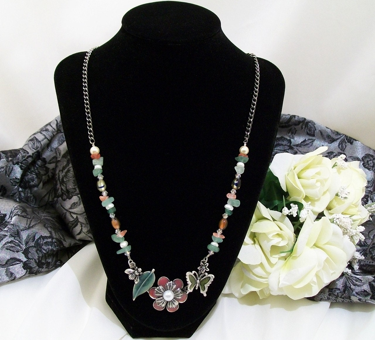 Bumble Bees and Butterflies Necklace